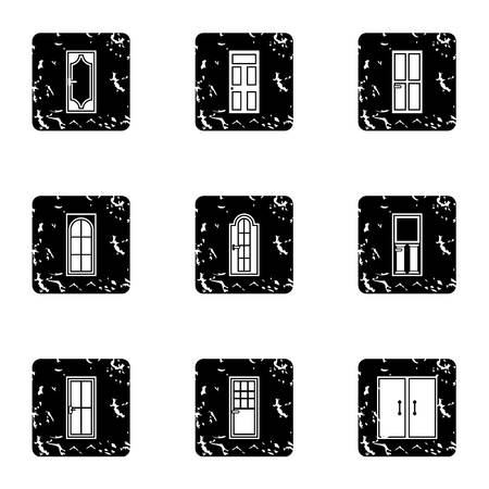 double entry: Types of doors icons set. Grunge illustration of 9 types of doors vector icons for web
