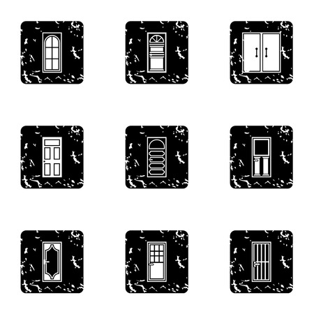 double entry: Interior doors icons set. Grunge illustration of 9 interior doors vector icons for web