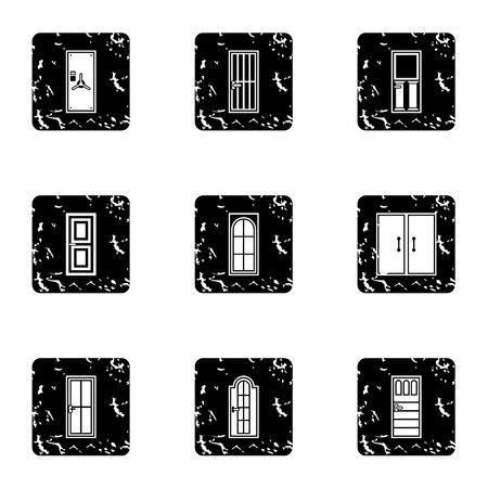 double entry: Security doors icons set. Grunge illustration of 9 security doors vector icons for web