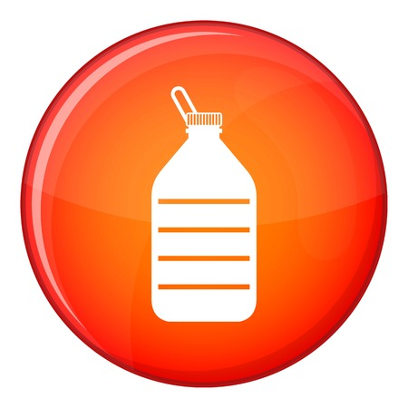 Large bottle of water icon in red circle isolated on white background vector illustration