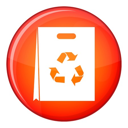 food waste: Package recycling icon in red circle isolated on white background vector illustration