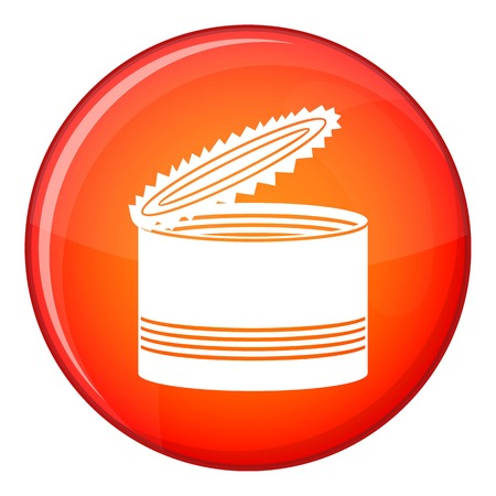 tincan: Open tin can icon in red circle isolated on white background vector illustration