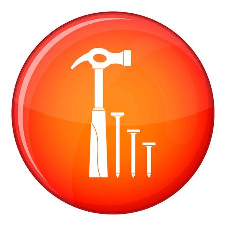 smashing: Hammer and nails icon in red circle isolated on white background vector illustration Illustration