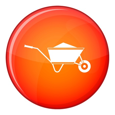 Wheelbarrow with sand icon in red circle isolated on white background vector illustration Illustration