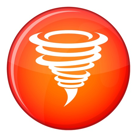 Tornado icon in red circle isolated on white background vector illustration Illustration