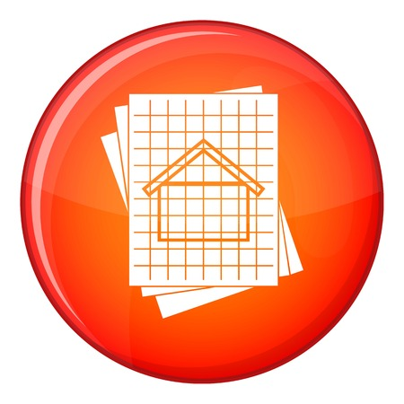 House blueprint icon in red circle isolated on white background vector illustration