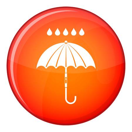 Umbrella and rain drops icon in red circle isolated on white background vector illustration Illustration