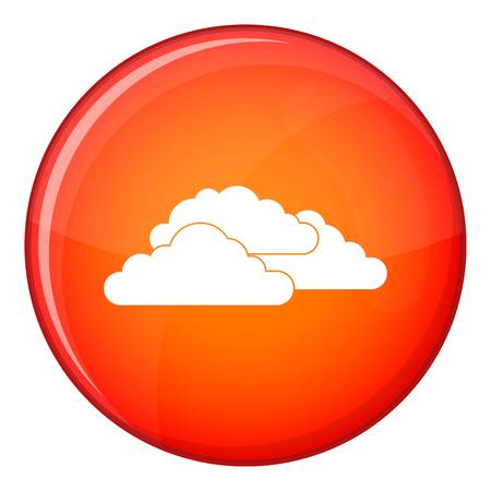 dramatic clouds: Clouds icon in red circle isolated on white background vector illustration Illustration