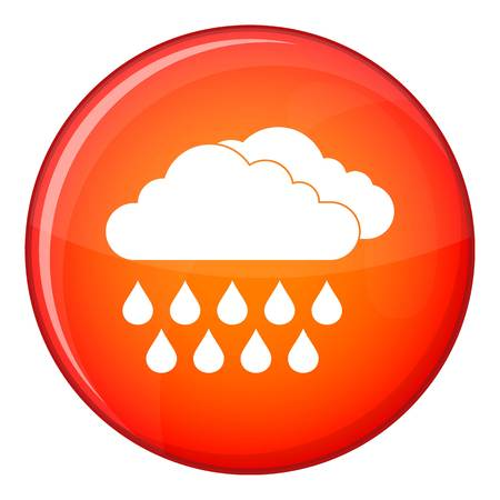 overcast: Cloud and rain icon in red circle isolated on white background vector illustration