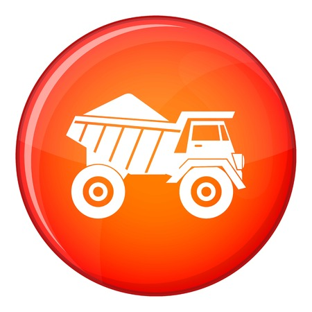 Dump truck with sand icon in red circle isolated on white background vector illustration Illustration