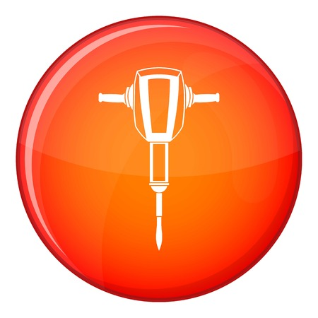 taskmaster: Pneumatic plugger hammer icon in red circle isolated on white background vector illustration