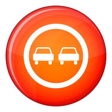 No overtaking road traffic sign icon in red circle isolated on white background vector illustration