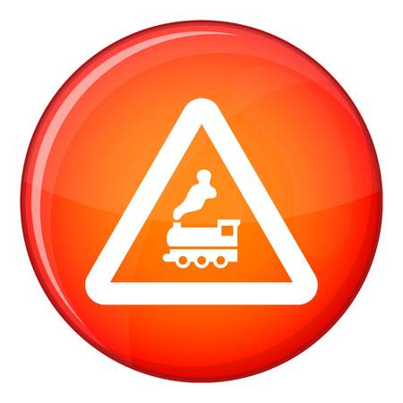 Warning sign railway crossing without barrier icon in red circle isolated on white background vector illustration Illustration