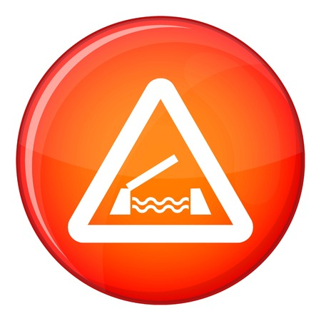 danger ahead: Lifting bridge warning sign icon in red circle isolated on white background vector illustration Illustration
