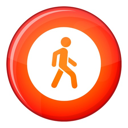 pedestrians: Pedestrians only road sign icon in red circle isolated on white background vector illustration