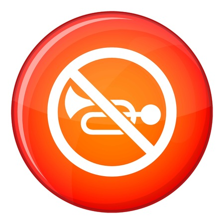 No horn traffic sign icon in red circle isolated on white background vector illustration
