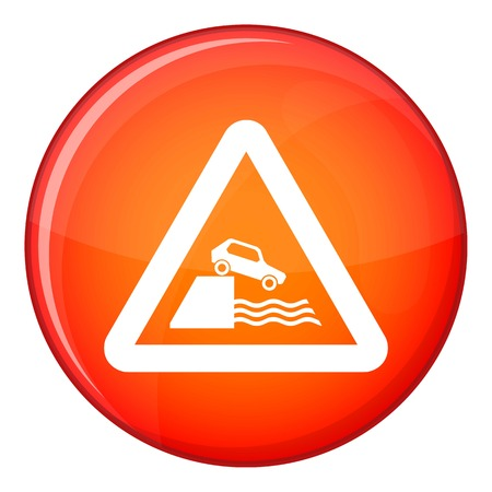 skid: Riverbank traffic sign icon in red circle isolated on white background vector illustration Illustration