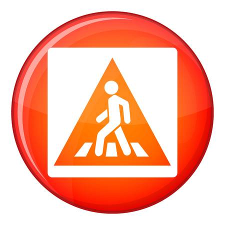 restricted area sign: Pedestrian road sign icon in red circle isolated on white background vector illustration