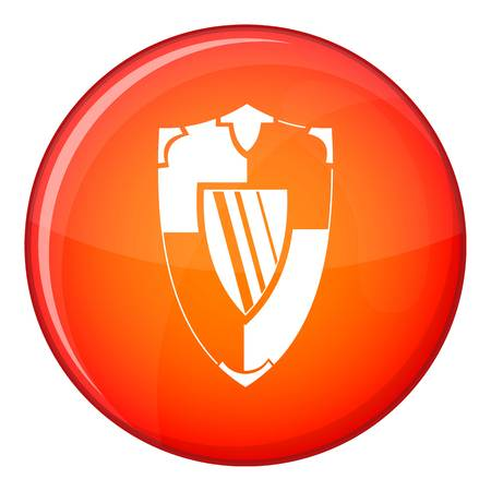 Shield icon in red circle isolated on white background vector illustration Illustration
