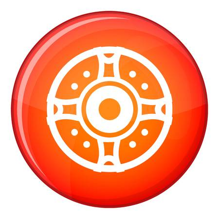 firewall: Shield icon in red circle isolated on white background vector illustration Illustration