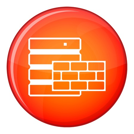 Database and brick wall icon in red circle isolated on white background vector illustration