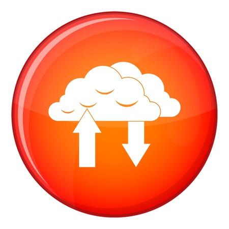 Clouds with arrows icon in red circle isolated on white background vector illustration