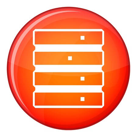Database icon in red circle isolated on white background vector illustration