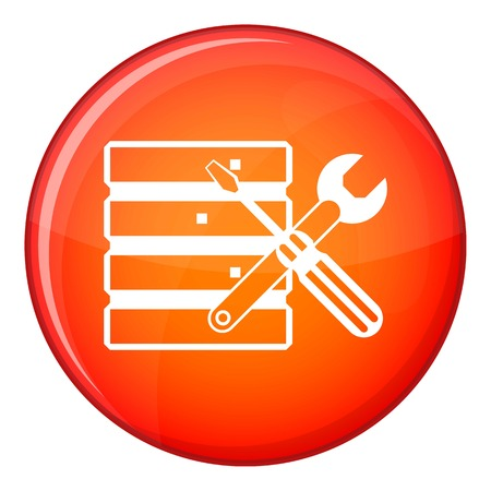 Database with screwdriverl and spanner icon in red circle isolated on white background vector illustration Illustration