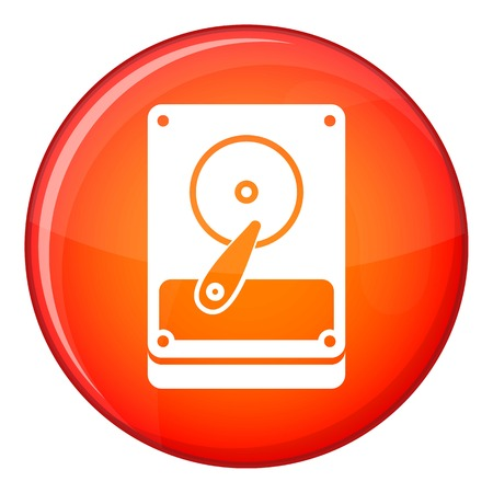 terabyte: HDD icon in red circle isolated on white background vector illustration Illustration