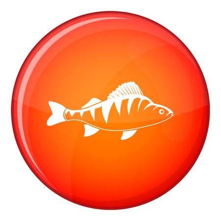 tang: Fish icon in red circle isolated on white background vector illustration Illustration