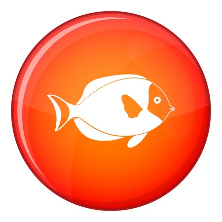 Fish icon in red circle isolated on white background vector illustration Illustration