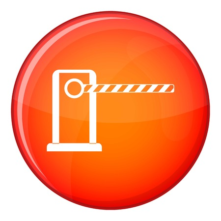 Parking entrance icon in red circle isolated on white background vector illustration