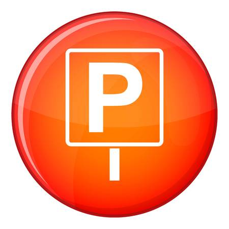 Parking sign icon in red circle isolated on white background vector illustration
