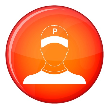 valet: Parking attendant icon in red circle isolated on white background vector illustration