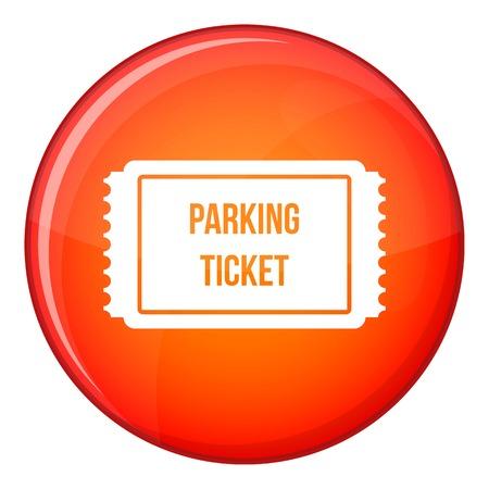 Icona del biglietto di parcheggio nel cerchio rosso isolato sull'illustrazione bianca di vettore del fondo Vettoriali