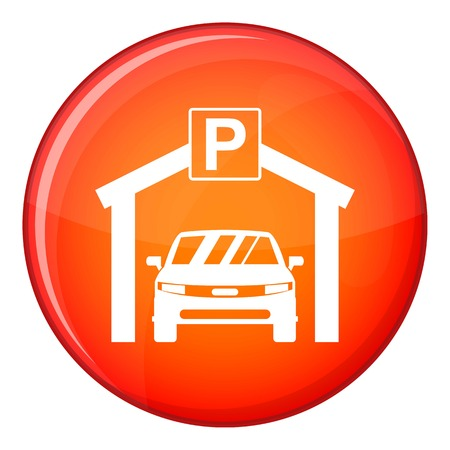 Car parking icon in red circle isolated on white background vector illustration