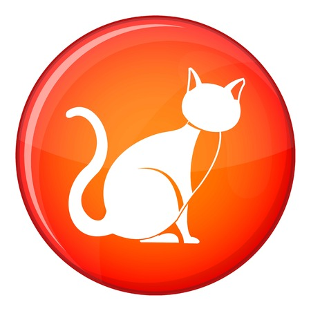 Black cat icon in red circle isolated on white background vector illustration