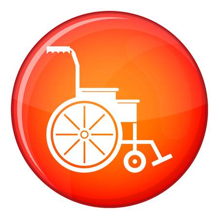 Wheelchair icon in red circle isolated on white background vector illustration