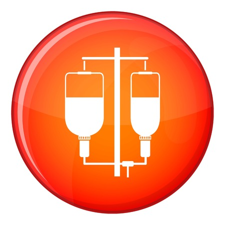 infusion: Intravenous infusion icon in red circle isolated on white background vector illustration