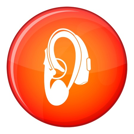 Hearing aid icon in red circle isolated on white background vector illustration Illustration