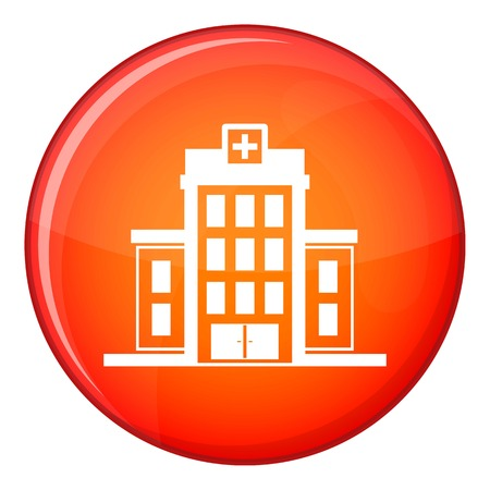 Hospital icon in red circle isolated on white background vector illustration