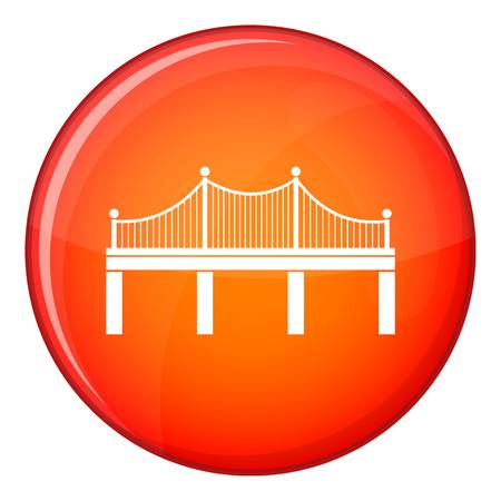 Bridge icon in red circle isolated on white background vector illustration Illustration