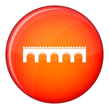 balustrade: Bridge icon in red circle isolated on white background vector illustration Illustration