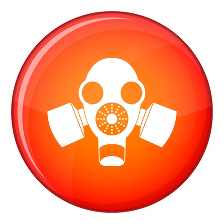 nuclear fear: Black gas mask icon in red circle isolated on white background vector illustration