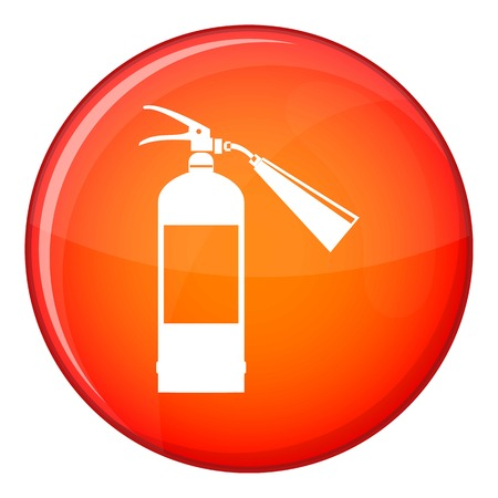 Fire extinguisher icon in red circle isolated on white background vector illustration
