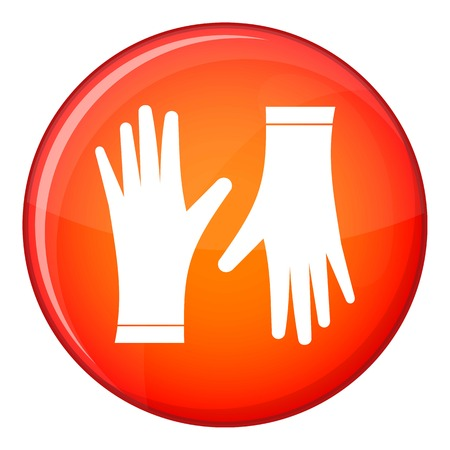 Protective gloves icon in red circle isolated on white background vector illustration