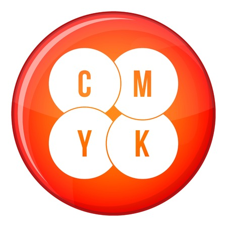 checking: CMYK circles icon in red circle isolated on white background vector illustration