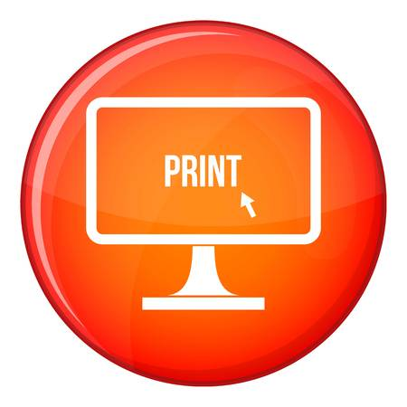 offset printer: Print word on a computer monitor icon in red circle isolated on white background vector illustration