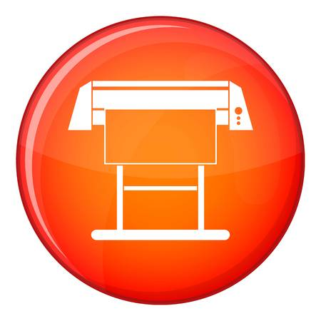 plotting: Large format inkjet printer icon in red circle isolated on white background vector illustration
