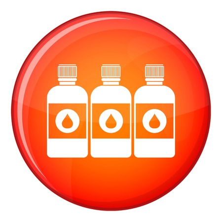 Printer ink bottles icon in red circle isolated on white background vector illustration